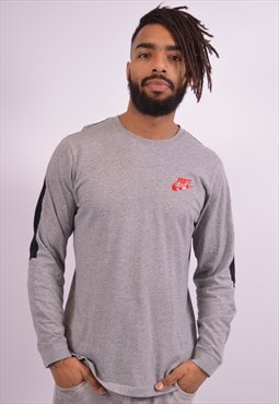 Nike Mens Vintage Top Long Sleeve Medium Grey 90s