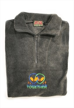 Stronger Together Embroidered Alien 1/4 Pullover Fleece Grey