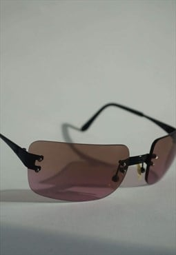Y2k Chanel Rimless Sunglasses - Tiny Pink Frameless Shades