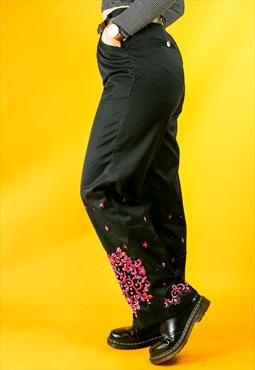 Vintage Sequin Pink and Black Trousers