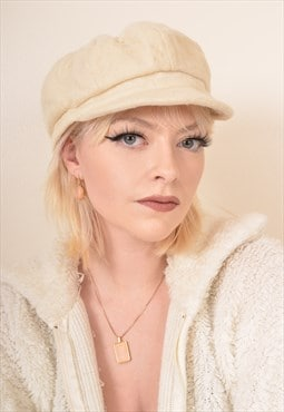 Vintage Wool Felt Cap Hat in Cream