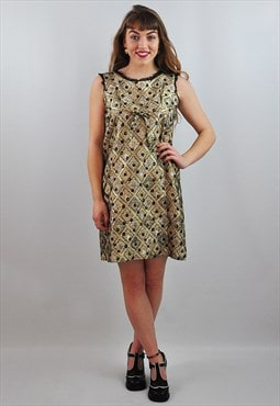 Vintage 1960's Gold Sparkly Metallic Mini Dress Christmas