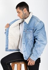 Outwear Vintage 80s Levi's Sheepskin Denim Jacket / 7769