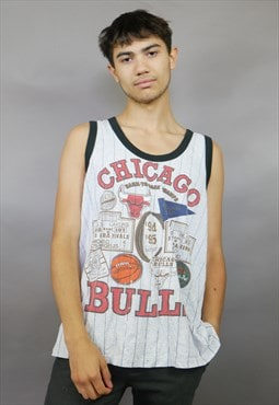 Striped Chicago Bulls Sticker Design Vest