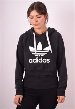 Adidas Womens Vintage Crop Hoodie Jumper Small Black 90s