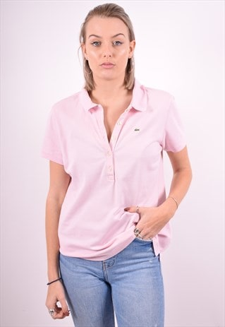 LACOSTE WOMENS VINTAGE POLO SHIRT LARGE PINK 90'S