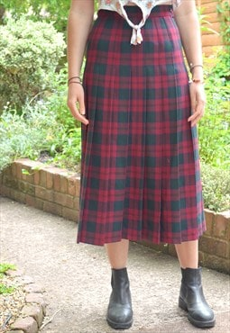 1990s Vintage Tartan Pleated Midi Skirt