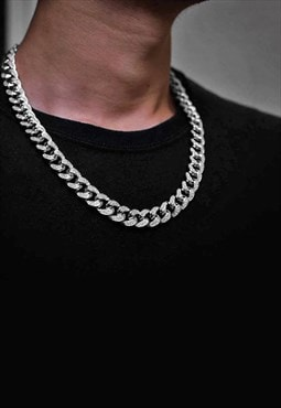 "14mm 20"" Diamond Iced Out Curb Necklace Chain - Silver"