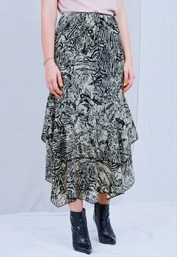 Frill skirt printed beige black abstract elastic waist L