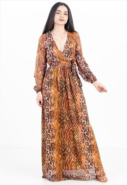Animal Print Maxi Dress in Orange with Belt