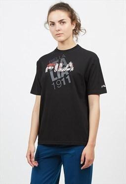 90s Vintage Black FILA Logo Crew Neck T-Shirt