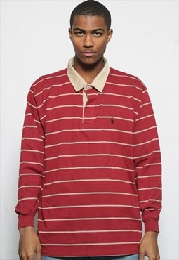 Vintage Ralph Lauren Long Sleeve Rugby Shirt Red Striped
