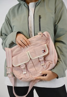 Vintage Tommy Hilfiger Pink Shoulder Strap Bag in pink color