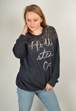 Vintage Hollister Sweatshirt in Navy Blue