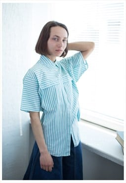 Vintage 80's White Striped Cotton Shirt