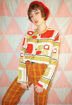 Vintage 90s Abstract Square Pattern Collarless Blouse