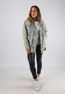 Vintage Denim Bomber Jacket Oversized Acid Wash UK 14 (R2U)