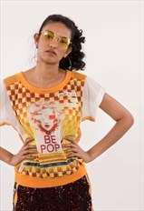 FKNS Yellow Printed Mesh Top