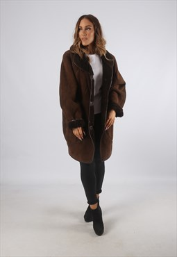 Vintage Sheepskin Suede Shearling Coat Mid UK 16 - 18 (K93M)