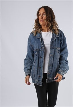 Denim Jacket Oversized Fitted Lined PIONEER UK 16 (G95T)