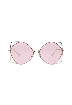 Saadia Slim Oversized Sunglasses Pink