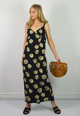 Vintage 90s Navy & Cream Floral Maxi Slip Dress