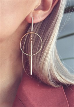 Minimal Geometric Gold Drop Earrings - IONA