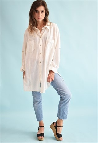 90'S RETRO BOHO FESTIVAL LINEN NEUTRAL SHIRT TUNIC