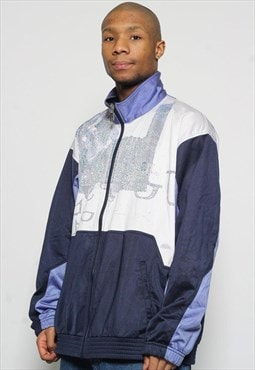 Vintage Sergio Tacchini Track Jacket White Blue Purple