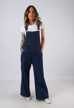 Denim Dungarees Wide Flared Leg UK 12 (GJCH)