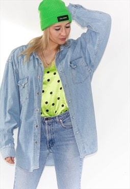 Vintage 90's Wrangler Light Blue Denim Oversized Shirt