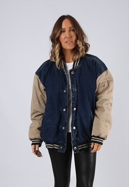 Denim Bomber Jacket Lined Oversized Fitted UK 16 (BJ3O)