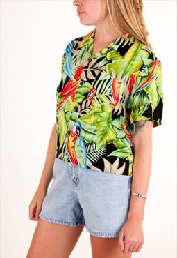 Vintage Tropical Cropped Short Sleeve Shirt