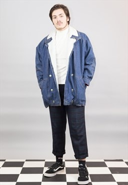 Vintage Sherpa Denim Coat with Teddy Collar