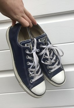 Mens Converse trainers white dark blue leather shoes pumps